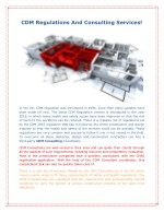 CDM Regulations And Consulting Services!