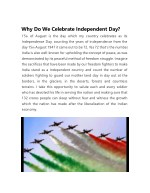 Why Do We Celebrate Independent Day?