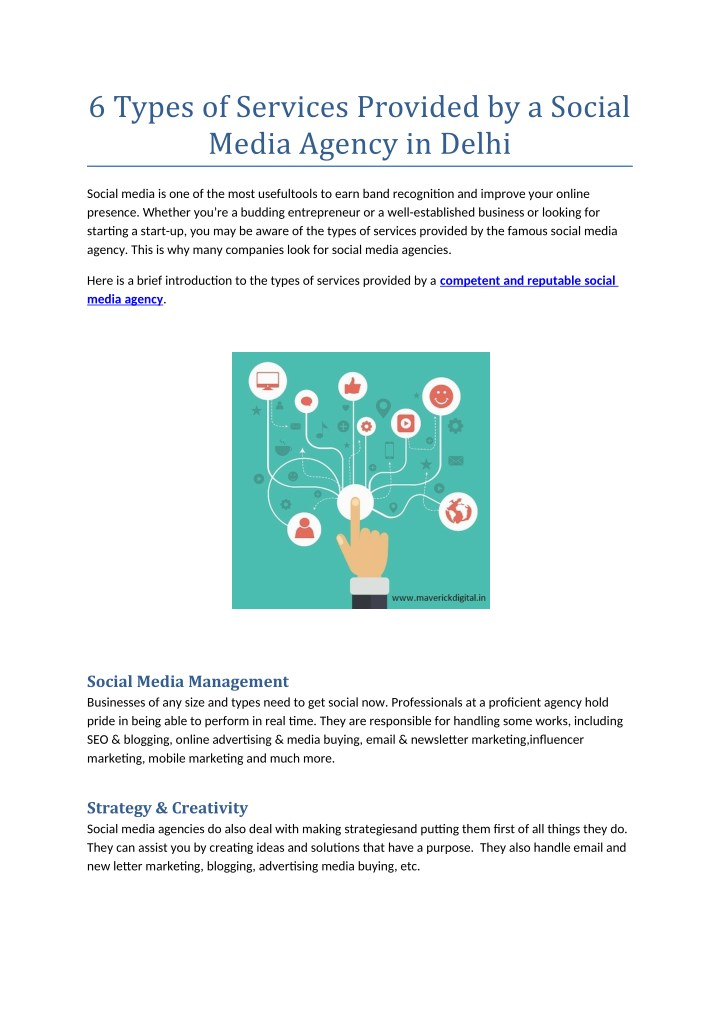6 types of services provided by a social media n.