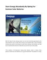 Store Energy Abundantly By Opting For Eastman Solar Batteries