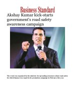 Akshay Kumar kick-starts government's road safety awareness campaign