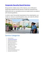 Corporate Security Guard Services