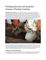 Plumbing Services Are Essential - Choose a Plumber Carefully