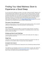 Finding Your Ideal Mattress Store to Experience a Good Sleep