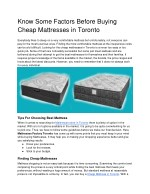 Know Some Factors Before Buying Cheap Mattresses in Toronto