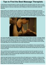 Tips to Find the Best Massage Therapists