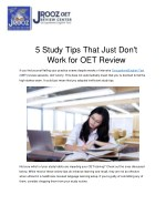 5 Study Tips That Just Don't Work for OET Review