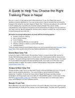 A Guide to Help You Choose the Right Trekking Place in Nepal