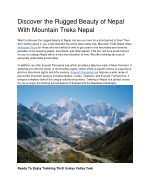Discover the Rugged Beauty of Nepal With Mountain Treks Nepal