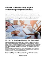 Positive Effects of hiring Payroll outsourcing companies in India