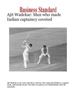 Ajit Wadekar: Man who made Indian captaincy coveted