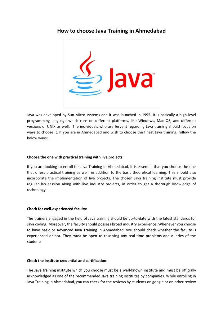 PPT - Java Training institute in Ahmedabad, Java training in