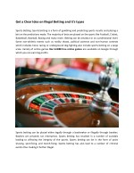 Get a Clear Idea on Illegal Betting