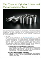 Types of Cylinder Liners and The Advantages