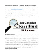 The Significance and Growth of Number 1 Classified Site in Canada