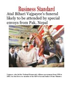 Vajpayee's funeral likely to be attended by special envoys from Pak, Nepal