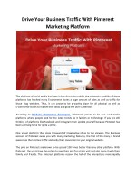 Increase Your Business Traffic using Pinterest Marketing Platform