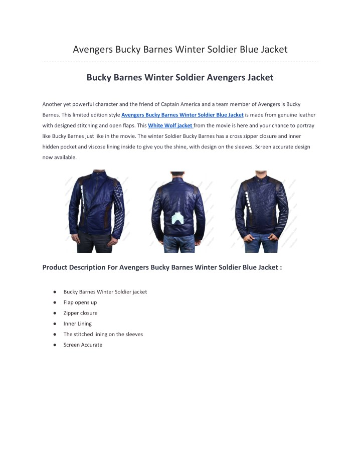 avengers bucky barnes winter soldier blue jacket n.