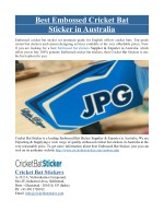 Best Embossed Cricket Bat Sticker in Australia