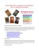 Wood Main Doors Suppliers in Tamilnadu| Best in Quality and Design