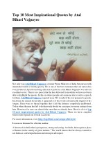 Top 10 Most Inspirational Quotes by Atal Bihari Vajpayee