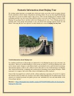 Fantastic Information about Beijing Tour