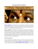 The need of Third eye meditation