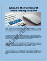 What Are The Functions Of Online Trading In Dubai?