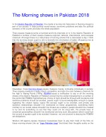 The Morning Shows in Pakistan 2018