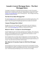 Canada's Lowest Mortgage Rates