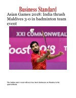 Asian Games 2018: India thrash Maldives 3-0 in badminton team event