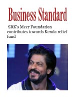 SRK's Meer Foundation contributes towards Kerala relief fund