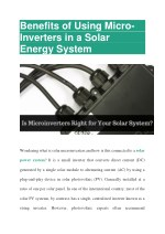 Benefits of Using Micro-Inverters in a solar Energy System