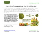 Know the Different Varieties of Olive Oil and Their Uses
