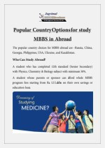 Popular Country Options for study MBBS in Abroad