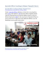 Specialist Officer Coaching in Udaipur Vijaypath Classes