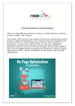 On Page Optimization: A Detailed Analysis