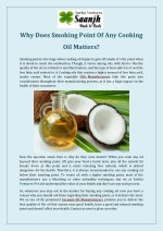 Why Does Smoking Point Of Any Cooking Oil Matters?