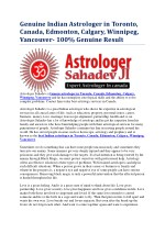 Genuine Indian Astrologer in Toronto, Canada, Edmonton, Calgary, Winnipeg, Vancouver- 100% Genuine Result