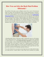 How You can Solve the Back Pain Problem Efficiently
