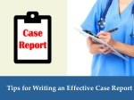 Case Report Writing Tips