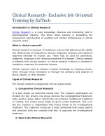 Clinical Research- Exclusive Job Oriented Training