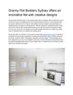 Granny Flat Builders Sydney offers an innovative flat with creative designs