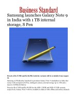 Samsung launches Galaxy Note 9 in India with 1 TB internal storage, S Pen
