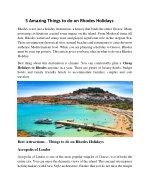 Top 5 Amazing Things to do on Rhodes Holidays