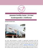 Jananam Fertility Center | Dr Vani Sundarapandian | ElaWoman