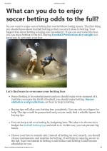 What can you do to enjoy soccer betting odds to the full