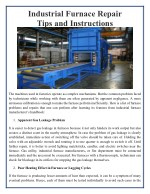 Industrial Furnace Repair Tips and Instructions