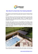 For what reason Would You Need Solar Pool Heating Adelaide?