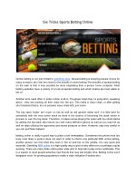 Six Tricks Sports Betting Online
